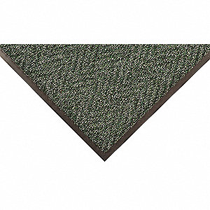 "Indoor Entrance Mat, 3 ft. L, 24"" W, 3/8"" Thick, Rectangle, Green"