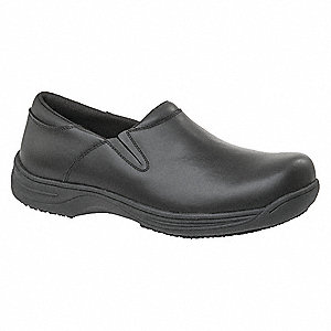 Work Shoes,Womens,8.5W,Blk,Slip On,PR