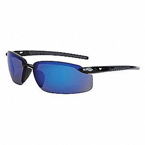 Crossfire Scratch-Resistant Safety Glasses, Blue Mirror Lens Color
