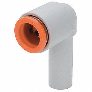 6 x 10mm Plastic Plug-In Reducing Elbow, 90°, White/Gray