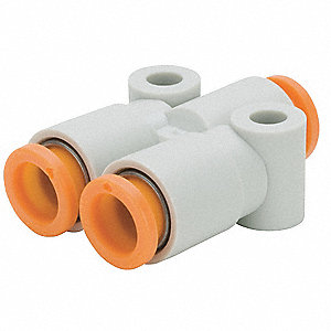 "5/16"" x 3/8"" Plastic Y Union, White/Gray"