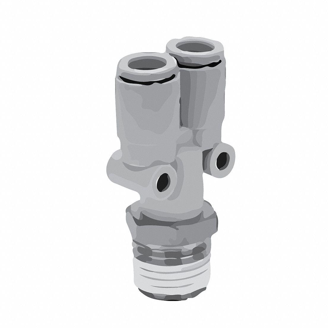 Aignep USA Plug-In Y Conn 8mm Stud x 6mm Tube Pkg Qty 5