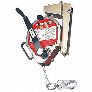 Rescue Self-Retracting Lifeline, Max. Working Load: 310 lb., Line Material: Galvanized Steel Cable,