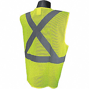 Yellow/Green with Silver Stripe Traffic Vest, ANSI 2, Hook-and-Loop Closure, M