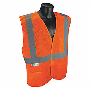 Orange/Red with Silver Stripe Traffic Vest, ANSI 2, Hook-and-Loop Closure, 5XL