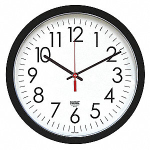 "12-3/4"" Wall Mount Round Analog Clock, Black"