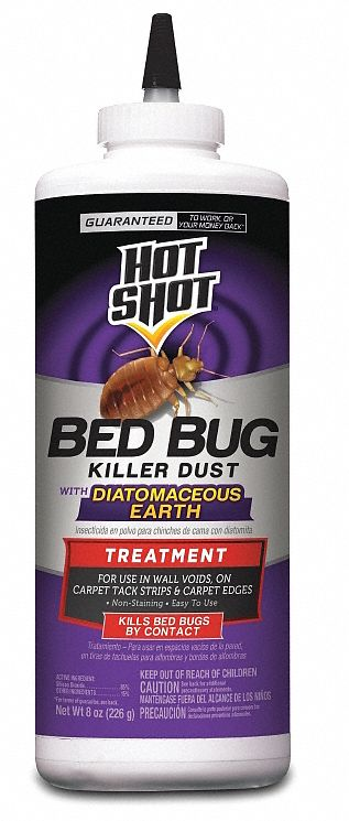 Bed Bug Killer,  Powder,  8 oz,  Indoor Only,  DEET-Free DEET Concentration,  Silicon Dioxide
