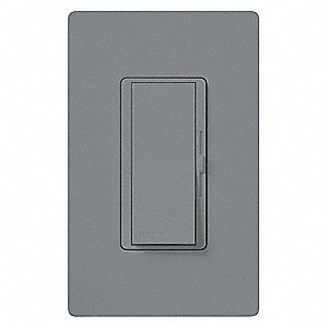 Rocker, Slide Lighting Dimmer, Fluorescent, LED Light Technology, 1-Pole, 3-Way, Gray