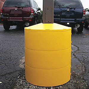 "12-1/2""H Light Pole Base Cover, Yellow; For Post Shape: Square, For Post Size: 4"" dia."