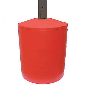 "12-1/2""H Light Pole Base Cover, Red; For Post Shape: Square, For Post Size: 4"" dia."