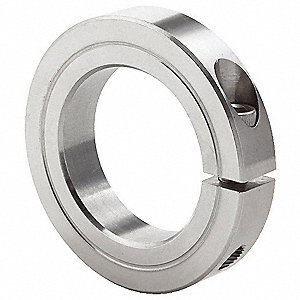 "Stainless Steel Shaft Collar, Clamp Collar Style, Standard Dimension Type, 2-3/8"" Bore Dia."
