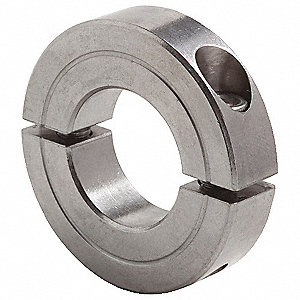 "Stainless Steel Shaft Collar, Clamp Collar Style, Standard Dimension Type, 2-5/8"" Bore Dia."
