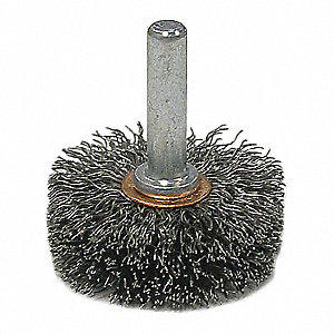"1-3/4"" Crimped Wire Wheel Brush, Shank Mounting, 0.006"" Wire Dia., 5/8"" Bristle Trim Length, 1 EA"