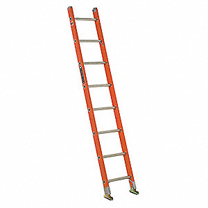 "Fiberglass Straight Ladder, 8 ft. Ladder Height, 17"" Overall Width, 300 lb. Load Capacity"