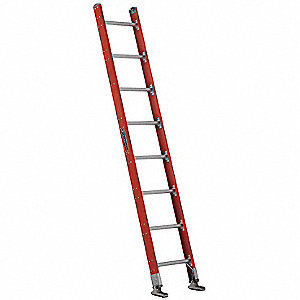 "Fiberglass Plate Connect Straight Ladder, 8 ft. Overall Height, 17-3/8"" Overall Width"