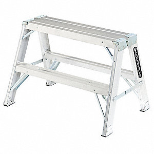 "Aluminum Sawhorse Ladder, 25"" Overall Height, 300 lb. Load Capacity"