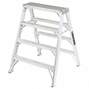 "Aluminum Sawhorse Ladder, 49"" Overall Height, 300 lb. Load Capacity"