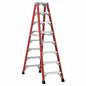 8 ft. 375 lb. Load Capacity Fiberglass Twin MRI Stepladder
