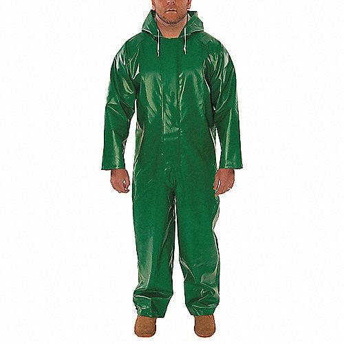 Traje de 2 piezas para la lluvia con capucha unida, Hombre, Poliester/PVC, Verde, Dimensión M