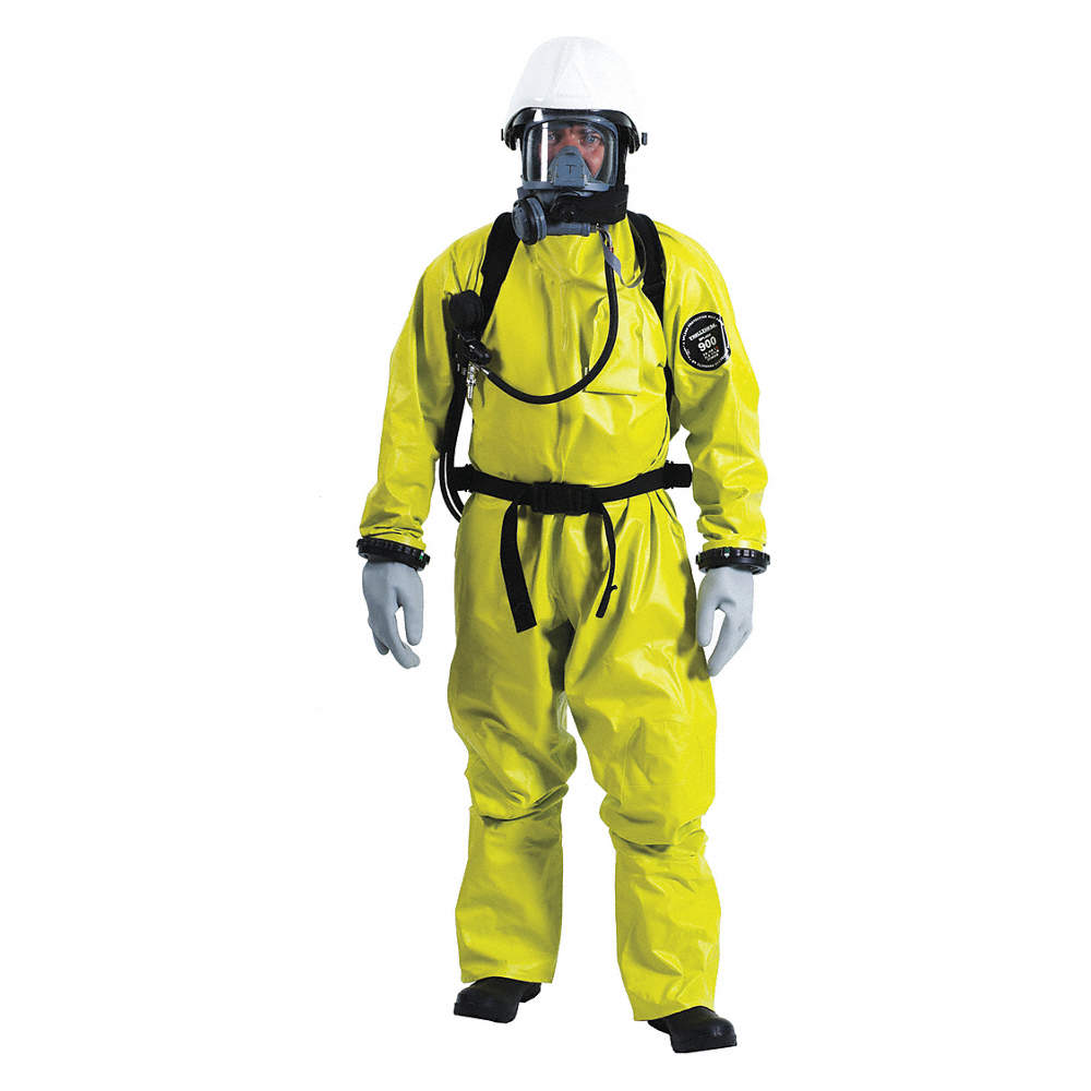 Rear-Entry Hooded Coverall, Level B, Rear Entry, Yellow, S, Single Coated  PVC on Stretch Fabric Mate