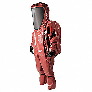 Level A Rear-Entry Encapsulated Suit, Red, Size L, Outer - Antistatic Butyl and Viton Rubber Coated