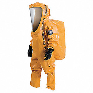 Level A Rear-Entry Encapsulated Suit, Orange, Size XXL, Outer - Nomex Combined with Chloroprene Rubb