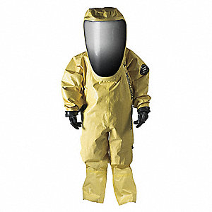 Level A Rear-Entry Encapsulated Suit, Yellow, Size M, Outer - Chloroprene Rubber Coated on Polyamide