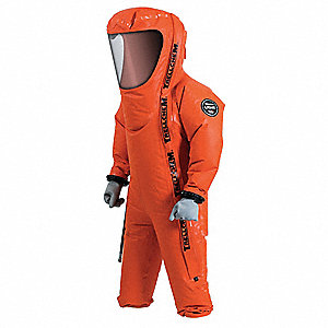 Level C Rear-Entry Encapsulated Suit, Orange, Size XXXL, Polyamid Coated Fabric with PVC on Both Sid