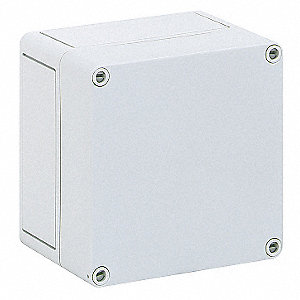 "5""H x 5""W x 4""D Non-Metallic Enclosure, Light Gray, Knockouts: No, Screws Closure Method"