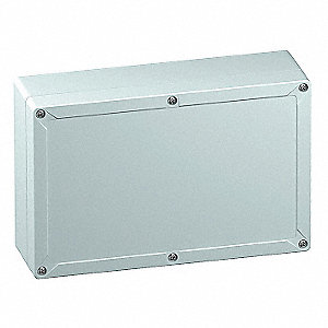 "10""H x 6""W x 4""D Non-Metallic Enclosure, Light Gray, Knockouts: No, Screws Closure Method"