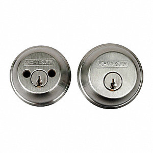 Heavy-Duty Satin Chrome B60-Series Deadbolt, Double-Cylinder, Different