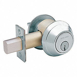Heavy-Duty Satin Chrome B660-Series Deadbolt, Double-Cylinder, Keyed Different