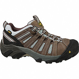 OxfordH Women's Athletic Work Shoes, Steel Toe Type, Leather Upper Material, Gray, Size 10M