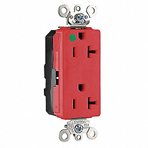 20A Heavy Use Hospital Grade Modular Receptacle, Red; Tamper Resistant: No