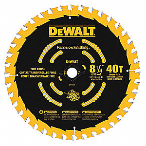 "8-1/4"" Carbide Combination Circular Saw Blade, Number of Teeth: 40"