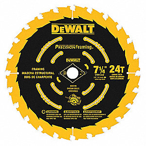 "7-1/4"" Carbide Combination Circular Saw Blade, Number of Teeth: 24"