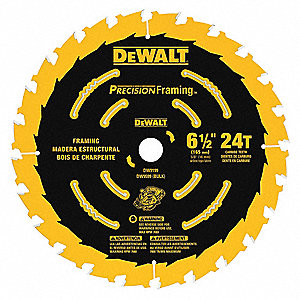 "6-1/2"" Carbide Combination Circular Saw Blade, Number of Teeth: 24"