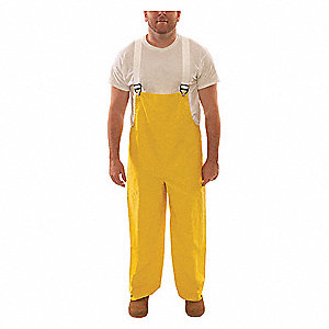 Flame Resistant Rain Bib Overall, PPE Category: 0, High Visibility: No, Neoprene, L, Yellow