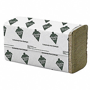 "1-Ply Multifold Paper Towel Sheets, 9-1/2"" x 9-1/4"", Brown, 16PK"