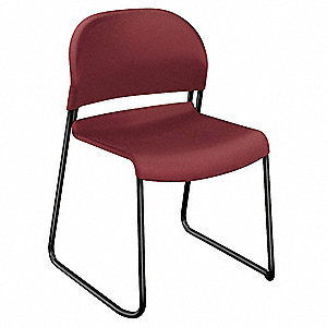Black Steel Stacking Chair with Mulberry Seat Color, 4PK
