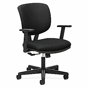 "Black Fabric Task Chair 19"" Back Height, Arm Style: Adjustable"