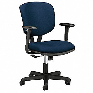 "Navy Blue Fabric Task Chair 19"" Back Height, Arm Style: Adjustable"