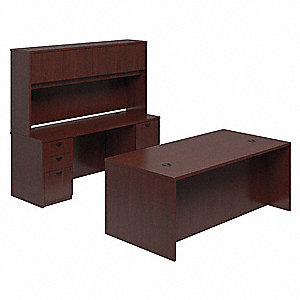 Office Desk Suite,72 In W,Mahogany