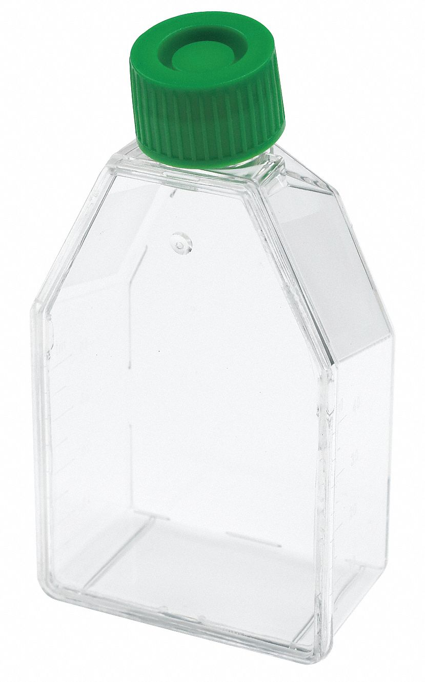 50 mL Plastic Tissue Culture Flask, Clear, Height: 29 mm, 200 PK