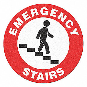 "Sign, Emergency Stairs (Picto), 17""x17"""
