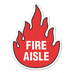 "Safety Floor Sign, Fire Aisle, 1/32""x17"""