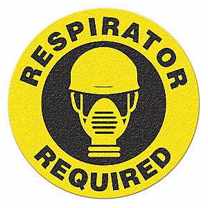 SAFETY SIGN,BLK/YLLW,RESPIRATOR REQUIRED