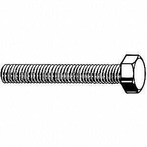 45mm Steel Hex Head Cap Screw, Class 8.8, M12-1.25 Dia/Thread Size, 50 PK