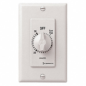 Spring-Wound Timer, White, Timing Range:  0 to 30 min., 20 Max. Amps @ 125VAC