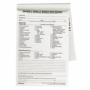 Vehicle Inspection Form,2 Ply,W/Carbon